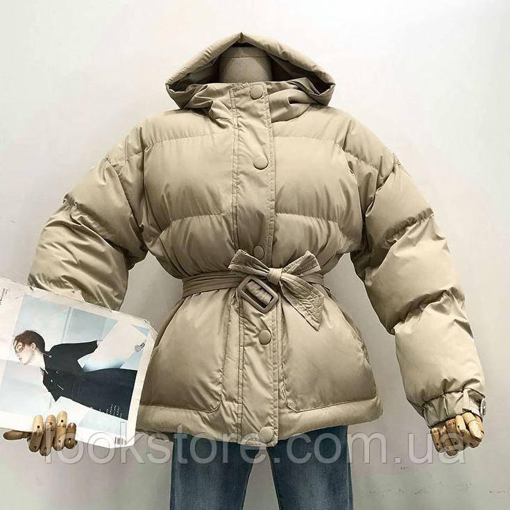 Женская куртка пуховик Зефирка бежевая