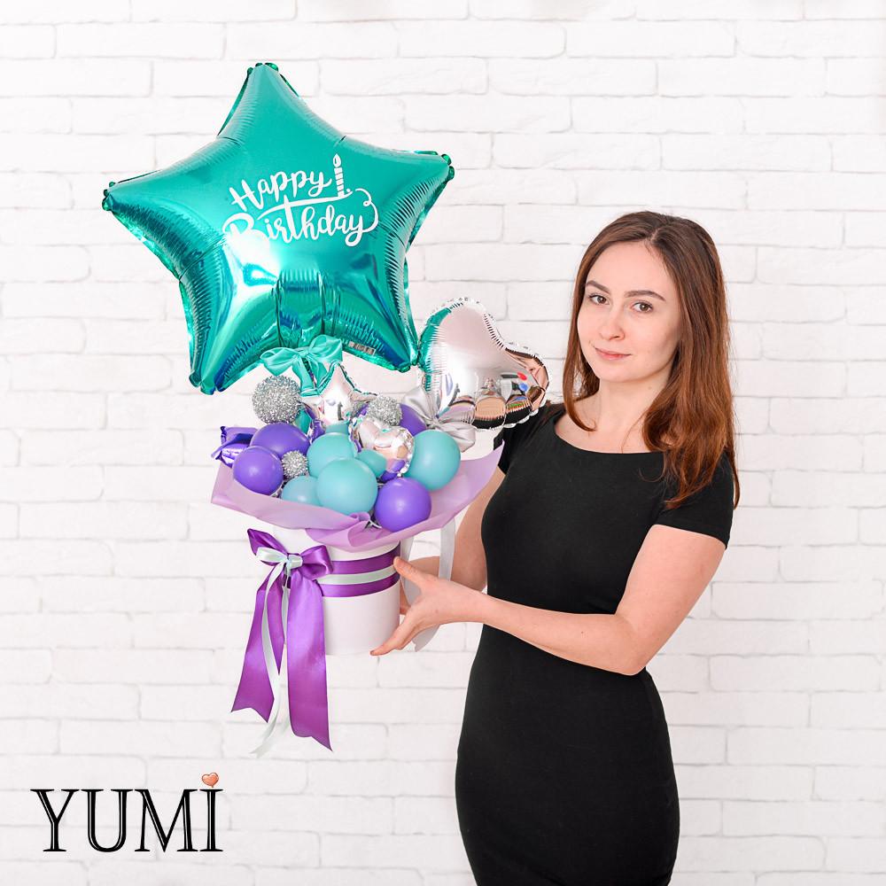 Композиция из шаров с воздухом для девушки