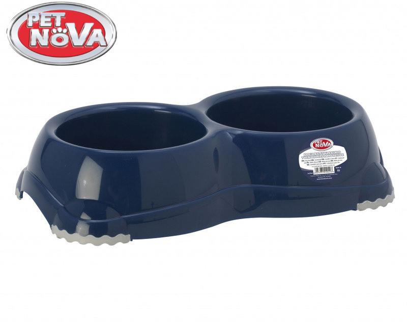 Двойная пластиковая миска для собак Pet Nova 2х330 мл Синяя