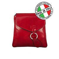 Красная женская кожаная сумка производство Италия