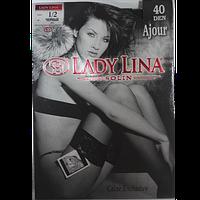 Панчохи жіночі Lady Lina Ajour 40 den чорні розмір 1/2