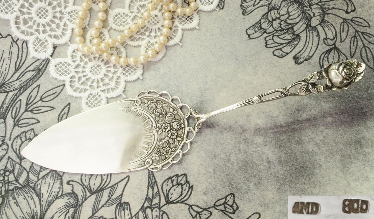 Серебряная лопатка для торта, десерта, серебро 800, Германия, Adam Manns & Sohn