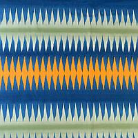 Тканина скатеркова в синю, зелену, оранжеву смужку-зигзаг, ш.150 (33111.001)