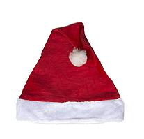 Новогодняя шапка деда мороза (однотонная) вельвет р.56