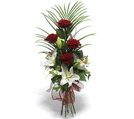 """Оригінальний букет з троянд і лілій """"Довгоочікувана зустріч"""""""