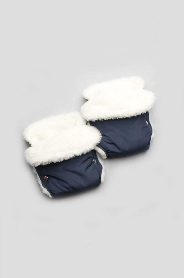 Рукавички для мамы на коляску (синий + овчина)
