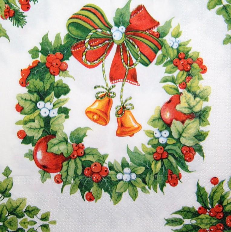 Салфетка декупажная Новогодний венок с колокольчиками 4345
