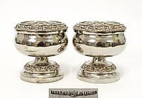 Пара посеребренных фрог вазочек, серебрение по меди, Англия, винтаж, фото 1