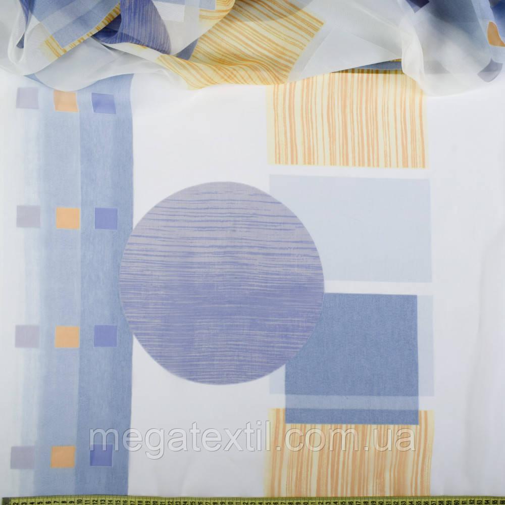 Напіворганза деворе блакитна з великими колами і рудими квадратами (37213.003)