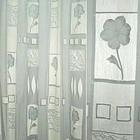 Органза деворе з сірими квітами і сірими квадратами (37214.015)