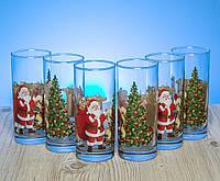 Набор высоких стаканов 280 мл с новогодним рисунком в ассортименте.