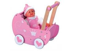 Барвиста дерев'яна коляска для ляльок
