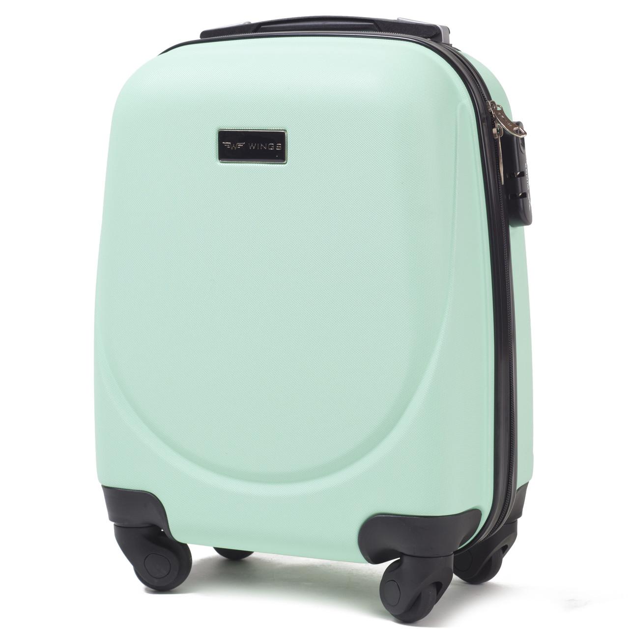 Микро пластиковый чемодан Wings 310 на 4 колесах зеленый, фото 1