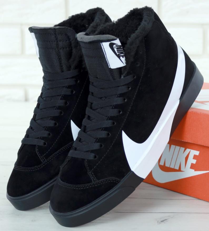 Кроссовки Мужские Зимние Nike Blazer Winter, найк с мехом чёрные
