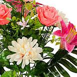 Букет Коктейль  роз, лилий и хризантем, 48см (10 шт в уп), фото 2