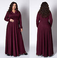 Шикарное вечернее нарядное платье макси, в пол, большого размера,с напылением р.52 бордо (581)