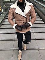 Стильная мужская дубленка на косой молнии коричневая с белым мехом