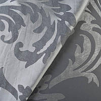 Атлас жаккард 2-сторонній сріблясто-сірий в листя, ш.140 (38300.002)