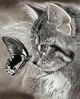 """Алмазная мозаика """"Котенок и бабочка"""", картина стразами 25*30см"""
