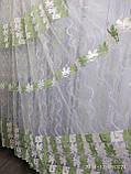 Тюль на белой фатиновой основе с плотной цветной вышивкой Высота 2.8 м На метраж и опт, фото 3