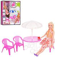 Кукла типа Барби с набором кафе 68084 стул,стулья, зонт