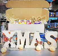 Коробка для упаковки подарка средняя +деревянная стружка декор