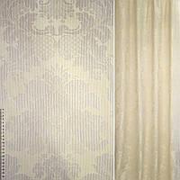 Жаккард пісочний з бежевими вензелями ш.140 (38331.007)