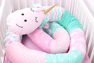 Бортик-валик Единорог. Подушка - бортик. В розово-мятном цвете