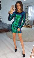 Зеленое облегающее вечернее платье-мини с пайетками VL3986-1 M. Размер 44