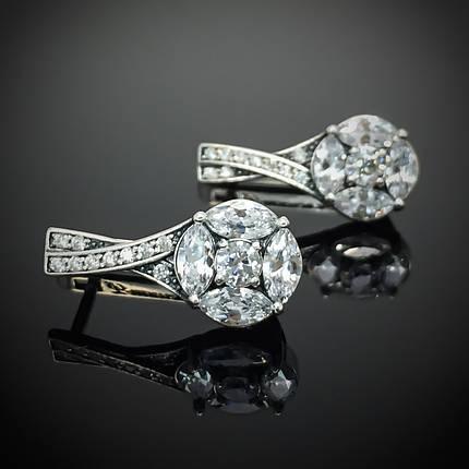 Серебряные серьги с фианитами, 30 камней, фото 2