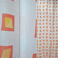 Батист портьерный белый с желтыми ромбами в красные квадраты ш.140 (38510.001)