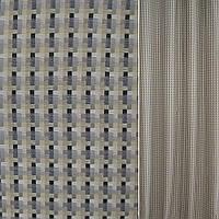 Рогожка бежево-сіра в чорні смужки ш.140 (39001.001)