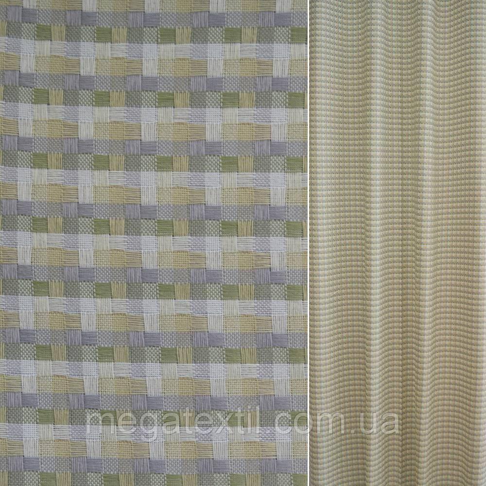 Рогожка бежево-біла в зелено-сіру клітку ш.140 (39001.003)