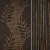 Рогожка CADIZ чорно-коричневий з листям ш.140 (39014.003)