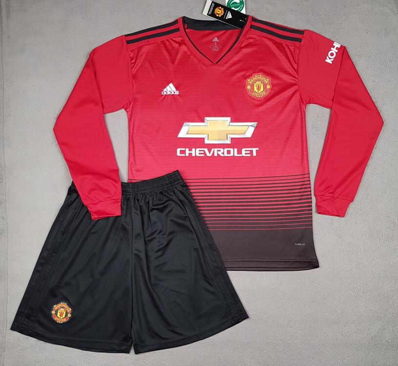 Детская футбольная форма Манчестер Юнайтед основная с длинным рукавом красная (сезон 2018-2019)