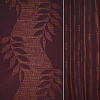 Рогожка CADIZ чорно-бордова з листям ш.140 (39014.004)