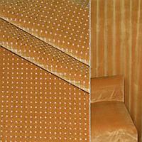 Велюр с вискозой мебельный клетка с точкой белой на горчичном светлом фоне, ш.140 (39034.010)