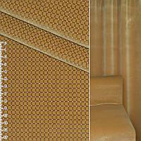 Велюр с вискозой мебельный клетка с точкой белой на горчичном фоне, ш.140 (39034.014)
