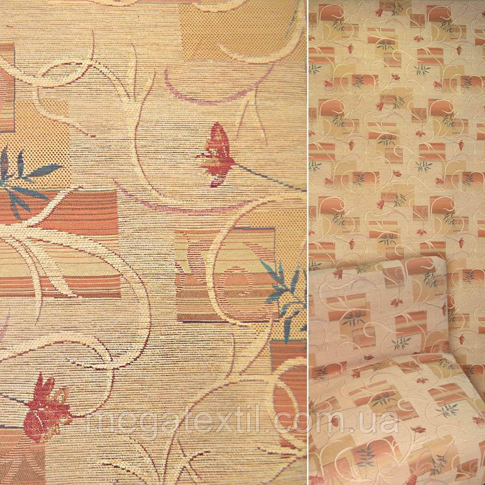 Шенілл жакардовий світлий персик з червоними квітами і квадратами ш.140 (39073.001)