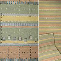 Шенілл жаккард з в жовто-зелено-блакитні, помаранчеві смуги ш.140 (39076.001)