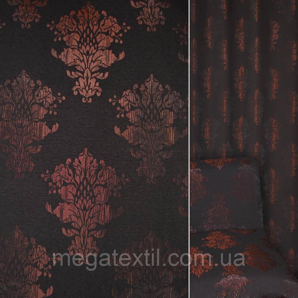 Фукра бордово-чорна з вензелями ш.140 (39089.001)