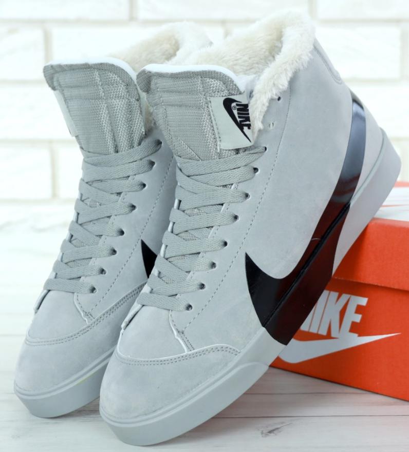 Кроссовки Мужские Зимние Nike Blazer Winter, найк с мехом серые