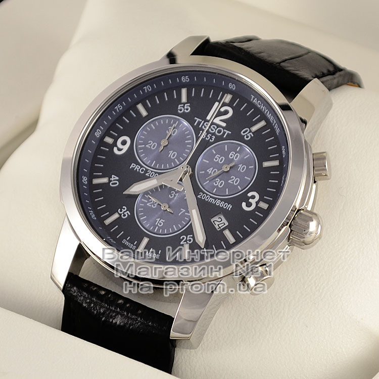 Мужские наручные часы Tissot PRC 200 T17.1.586.42 Chronograph Тиссот кожаный ремешок люкс реплика