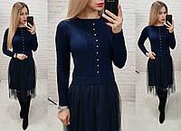 Платье вязаное с фатином в расцветках 26333