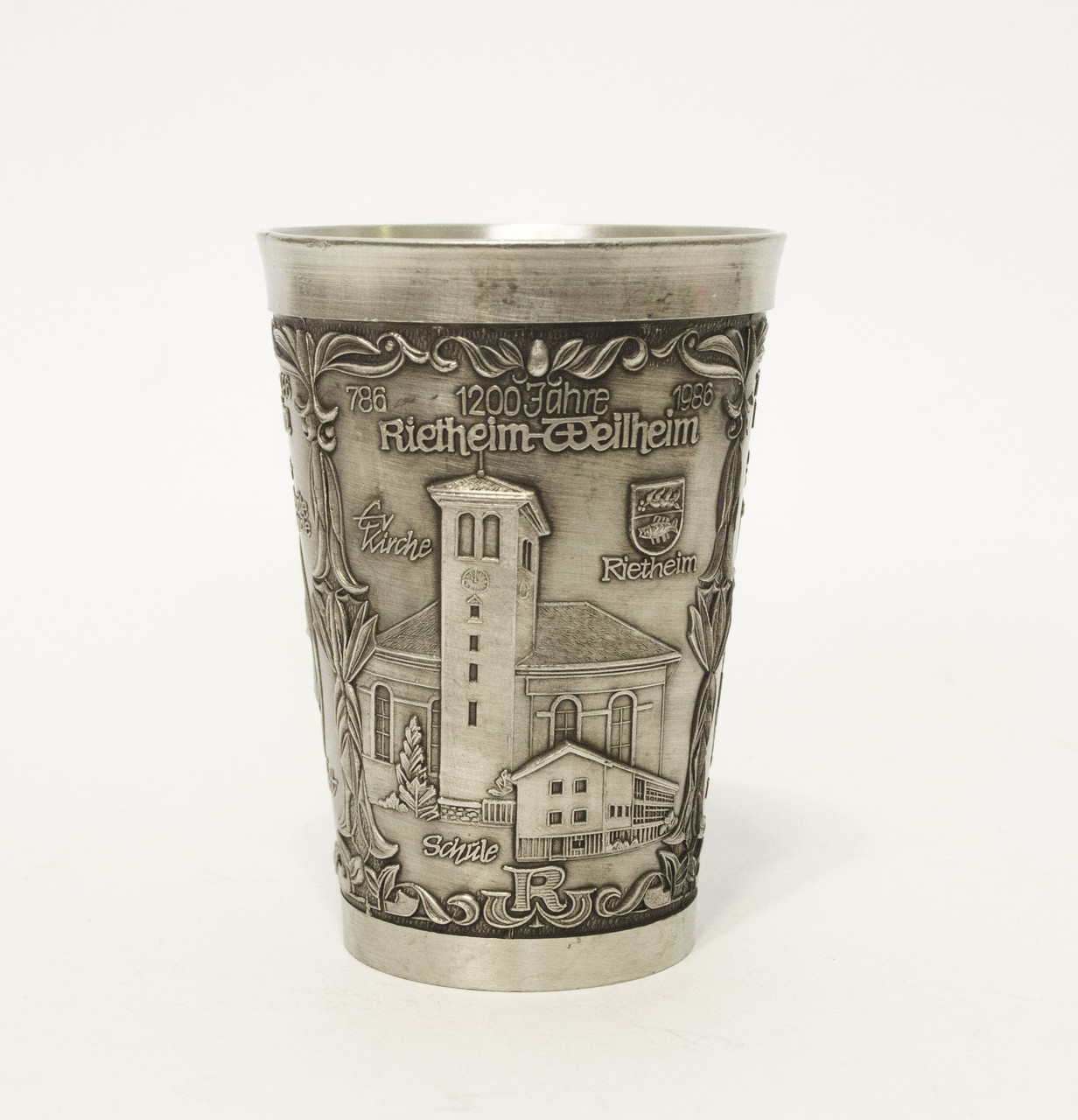 Старый оловянный бокал для вина, шнапса, Германия, пищевое олово, 150 мл