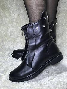 Ботинки женские зимние из натуральной кожи низкий ход с натуральным мехом внутри овчина