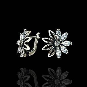 Срібні сережки Ромашки з фіанітами, 12 каменів, фото 2