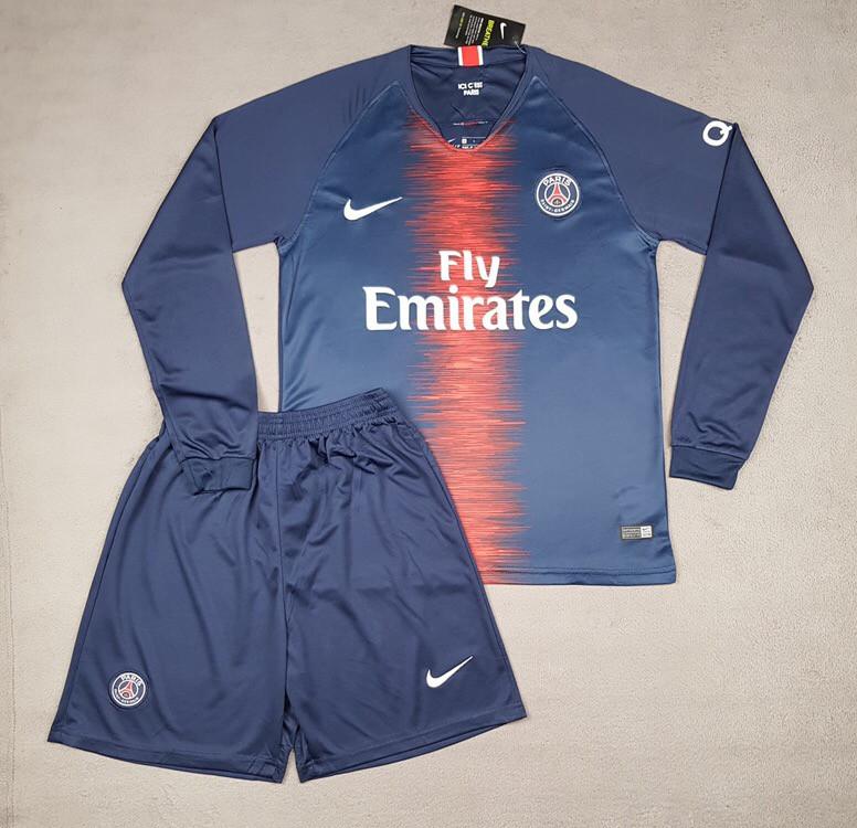Футбольная форма ПСЖ с длинным рукавом (сезон 2018-2019) синяя