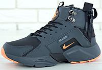 Зимние мужские кроссовки Nike Air Huarache X Acronym Winter Black Orange, найк аир хуарачи зима