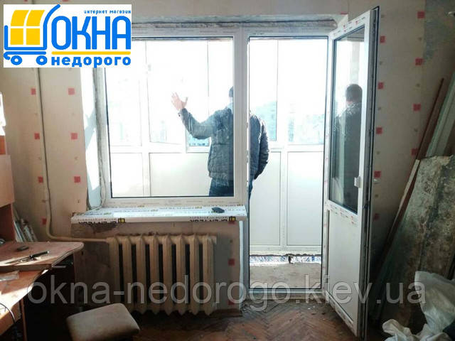 Остекление однокомнатной квартиры - выход на балкон Rehau
